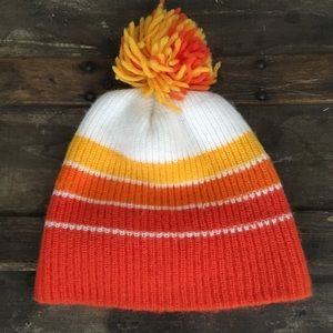VINTAGE 70's / 80's Orange Striped Pom Winter Hat